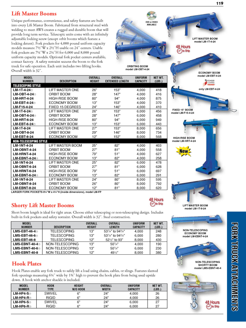 Fork Truck Attachments Catalog Page